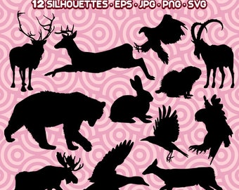 Forest Animal Silhouette, Woodland PNG, Forest Animal JPG, Animal Silhouettes, Instant Download 17