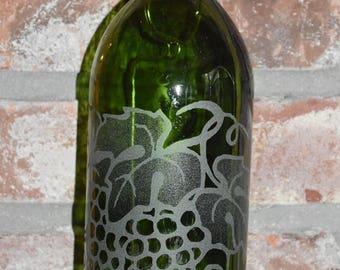 Grape Cluster ~ Sand-etched Green Wine Bottle Lantern