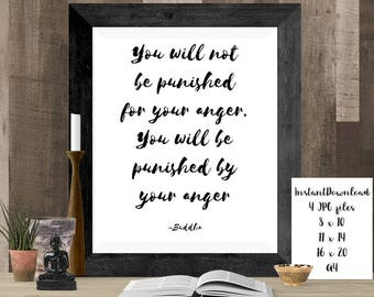Buddha Peace Quote Sign, Printable Zen Home Decor, Digital Art, Buddhism Quote, Mindfulness Print, Gym Art, Yoga Gift, Peace Print Wall Art