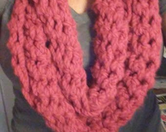 Coral Crocheted Infinity Scarf