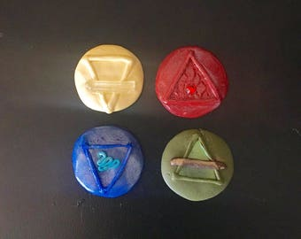 Element Coins: A Collection Representing The Four Elements (Air, Fire Earth & Water). Altars, Spells, Casting Circles, Wiccan, Magic