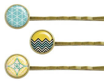 3 hair clips cabochon Curry yellow & smoke blue