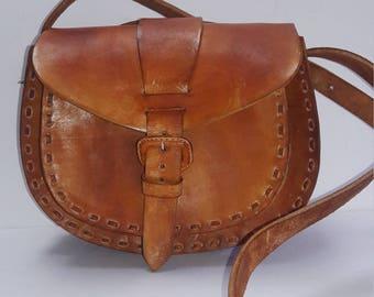 Tan Mini  Leather Shoulder Handbag