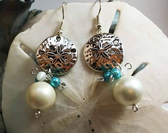Ocean sand dollar silver earrings with white pearl and blue beads, hypo allergenic