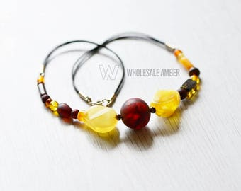 Baltic amber necklace. Amber necklace jewelry with leather. Natural amber beads. Baltic amber store. MS14