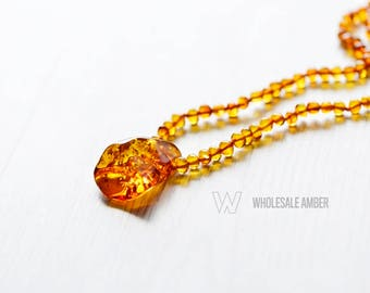 Baltic amber necklace for adult. Amber necklace. Long necklace. Polished amber beads. 49 cm 1 piece. MS02