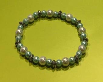 Aqua /White Pearl Bracelet