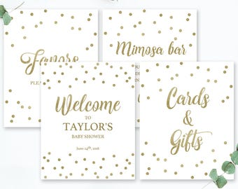 Gender Neutral Baby Shower Sign Package Gold Confetti Welcome Sign Baby Shower Mimosa Bar Sign Gold Glitter Favors Sign Printable Bundle GCO