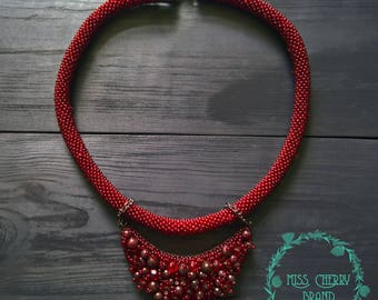 Marsala Necklace with natural garnet