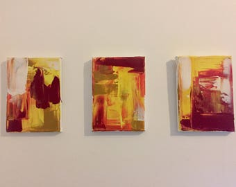 Abstract Acrylic Paintings Set Of Three 5X7in Small Art Red Yellow Orange White
