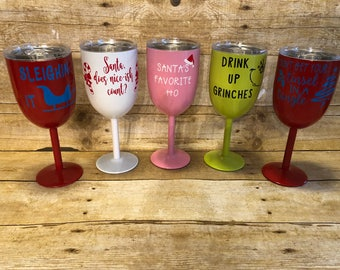 10oz Stainless Steel Wine Glass Tumbler With Lid, Powder Coated Wine Tumblers, Adult Funny Christmas Funny Wine Tumblers