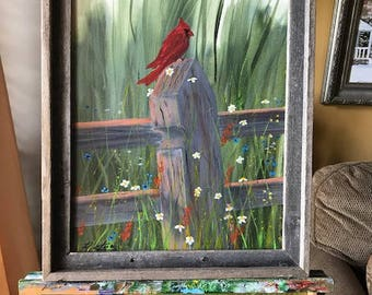 Red Bird on Fence, Acrylic Painting, Wildlife Nature