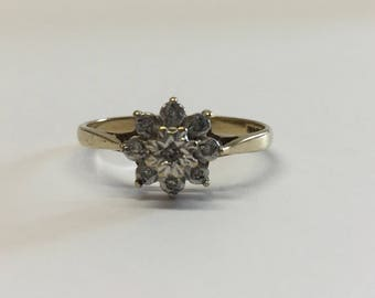 9ct Gold Diamond Cluster Ring - Illusion Set Diamonds and Yellow Gold Band