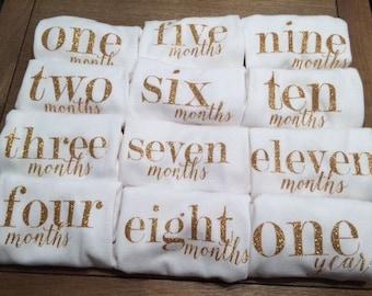 Baby Girl Milestone Onesies / Bodysuit / One-piece, Baby Girl Monthly Onesie Set, Baby Girl Shower Gift