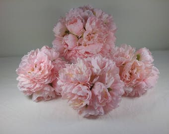 1 Bridal & 3 Bridesmaid Blush Pink Peony Wedding Bouquet set