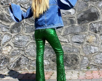 Green Sequin Flare Pants - Bell Bottoms - Wide Leg Pants