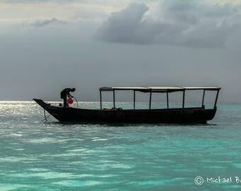 A Fisherman out at sea Zanzibar East Africa