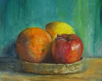 original oil painting on canvas  nature morte Three Fruit Composition