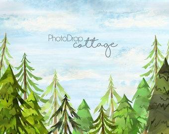 Tree Farm (Sky) - 60x80 Fleece - Wrinkle Resistant - Backdrop