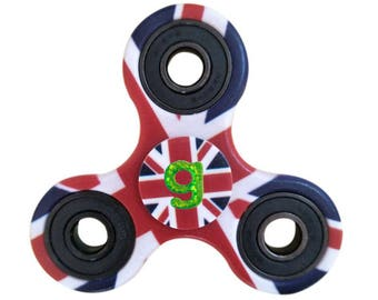 UK Flag Union Jack Fidget Spinner, Personalized, Monogrammed, Nerdy Party Favor, Kid's Birthday Gift, Custom Hand Spinner, Stress Relief Toy