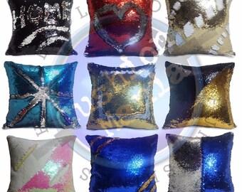 Magic sequin mermaid reversible two tone glitter home car sofa cushion or cover