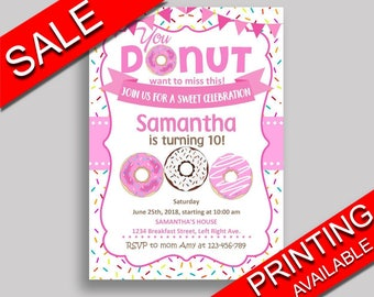 Doughnut Birthday Invitation Doughnut Birthday Party Invitation Doughnut Birthday Party Doughnut Invitation Girl diy invite any age 31C0W