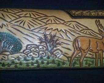 Hand Tooled Colorful Large Leather Wallet- Animal Nature Scene EUC
