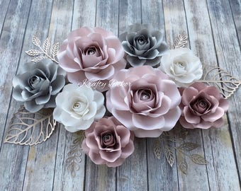 8 pcs set paper flowers, nursery decor, paper flowers backdrop, baby shower decor, bridal shower