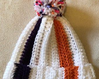 Stripe Beanie Hat with PomPom