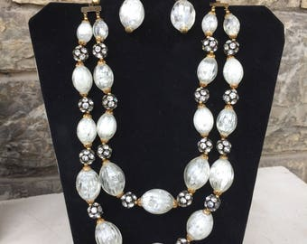 Vintage Hobe Jewels Double Strand Necklace and Earrings Set