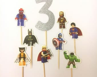 12 Pcs, Superhero Cupcake Toppers, Superhero Lego Cupcake Toppers, DC, Marvel, Superman, Spiderman, Iron Man, Superhero Party, Lego Party