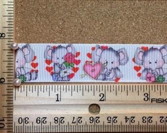 Valentine Elephants and Hearts 7/8 inch Grosgrain Ribbon