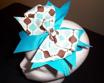 Turquoise and Brown hair bow on turquoise headband with rhinestone