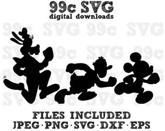 Run Disney Goofy Donald Mickey SVG DXF Png Vector Cut File Cricut Design Silhouette Vinyl Decal Party Stencil Template Heat Transfer Iron