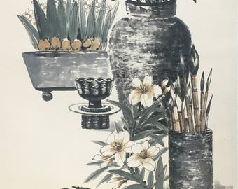 Jar And Brushpen Watercolor Painting By The Top Artist From North Korea