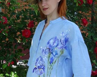 Hand painted t-shirt with irises. Handmade design.