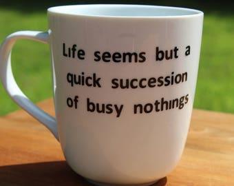Jane Austen - Mansfield Park - 14 oz Coffee Mug with vinyl decal quote