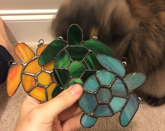 Mini Stained Glass Turtles