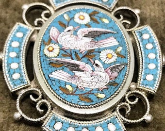 Micromosaic of birds and flowers in an antique sterling silver pendant, circa 1880