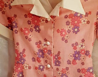 Handmade 1960 girls pretty/pink and flowers/rockabilly/frock