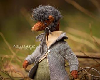 Quirky wolf....teddy, stuffed, animal, teddy artist, teddy art, crazy, soft sculpture,