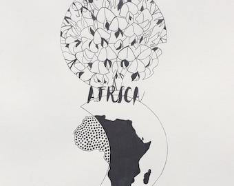 Africa pen drawing black & white