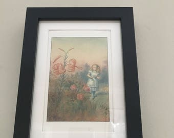 Classic Alice in Wonderland Illustration - framed Postcard - Alice with Flowers
