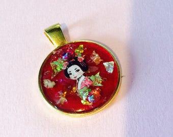 Beautiful Japanese Geisha Handmade ONE OF A KIND Pendant