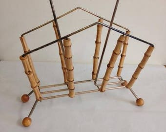 Rare - English Vintage / retro bamboo and brass magazine rack - Excellent condition - with FREE UK delivery