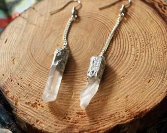 Soldered Quartz Earrings/ Far Out Bohemian Jewelry
