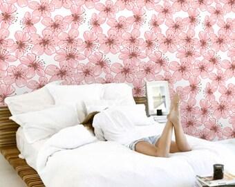 Removable wallpaper/Wallpaper/Peel and Stick/Self adhesive wallpaper/Modern Wallpaper /Flowers patern S140