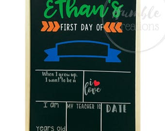 Personalized First Day of School Chalkboard // Last Day of School // Kids Milestone Board // Memories