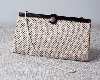 Vintage Cream Glomesh Lucite and Leather Clutch Handbag or Shoulderbag Purse