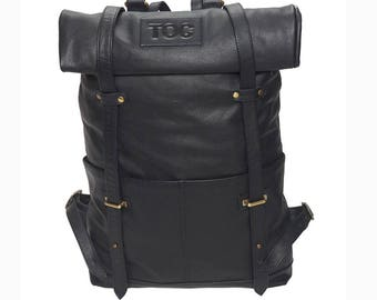TOC Leather Backpack - Black